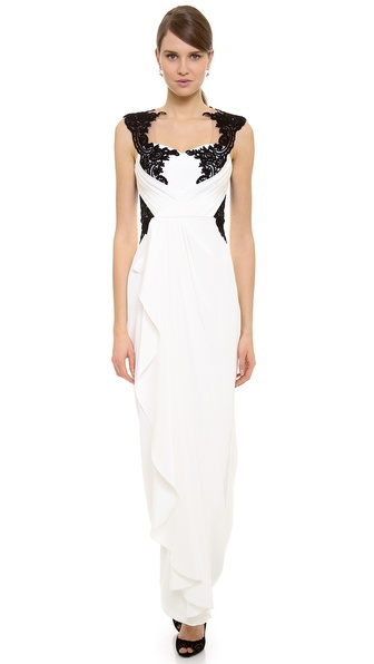 Notte by Marchesa Lace Applique Gown