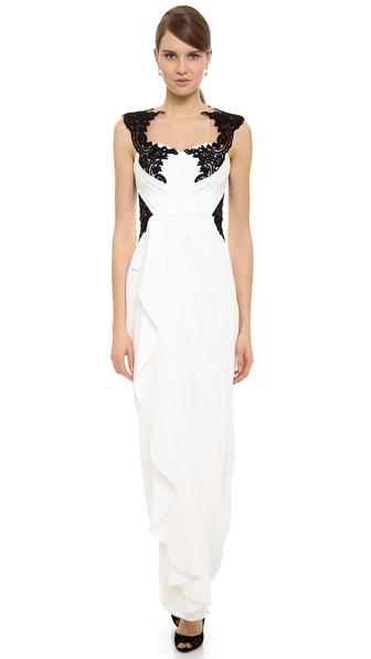 Notte by Marchesa Lace Applique Gown
