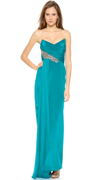Notte by Marchesa Silk Crepe Gown