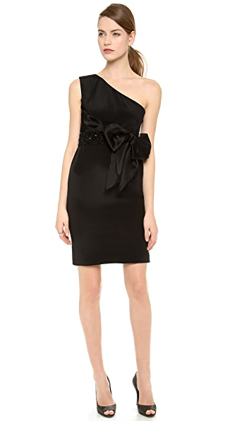 Marchesa Notte One Shoulder Crepe Cocktail Dress