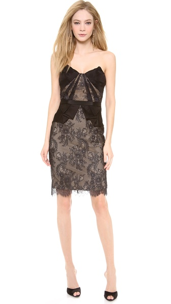 Notte by Marchesa Strapless Lace Cocktail Dress