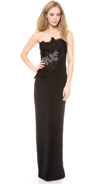 Notte by Marchesa Strapless Silk Crepe Gown