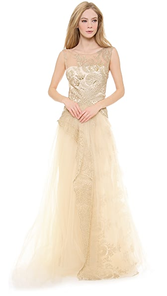 Notte by Marchesa Metallic Lace Gown with Tulle Skirt