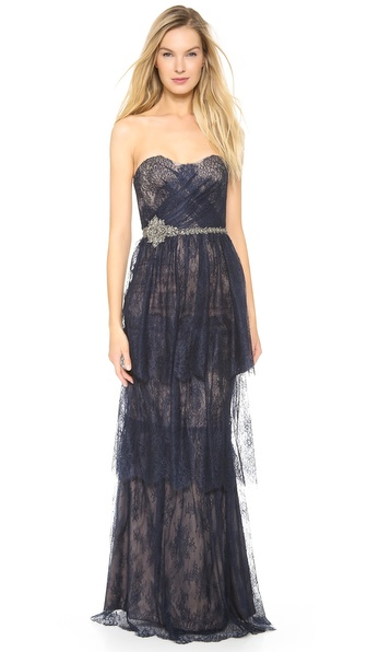 Notte by Marchesa Strapless Tiered Lace Gown