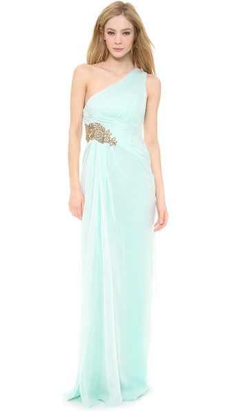 Notte by Marchesa One Shoulder Pleated Chiffon Gown