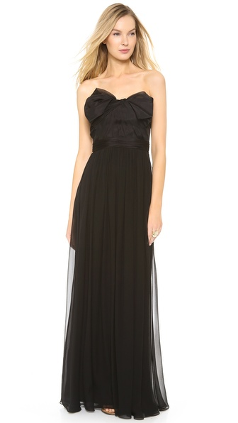Notte by Marchesa Strapless Chiffon Gown with Organza Bow