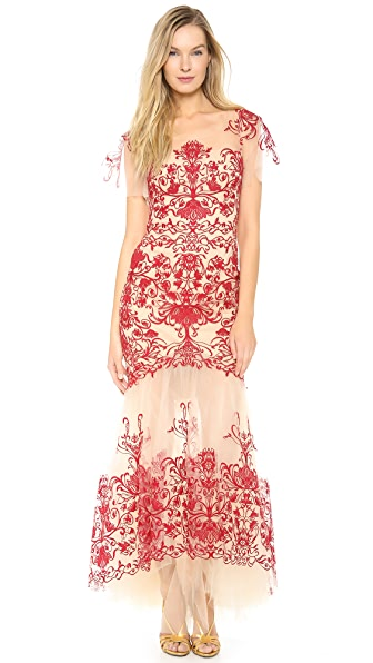 Marchesa Notte Fully Embroidered Gown