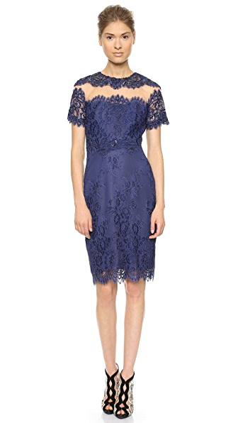 Marchesa Notte Short Sleeve Cocktail Dress