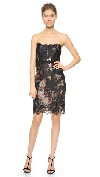Notte by Marchesa Strapless Printed Floral Cocktail Dress