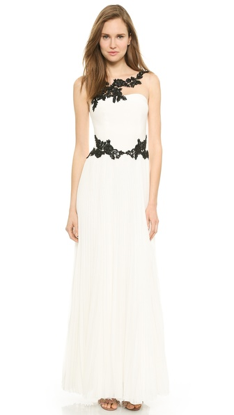 Notte by Marchesa Illusion Neckline Gown