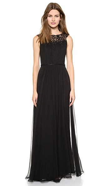 Notte by Marchesa Silk Chiffon Gown