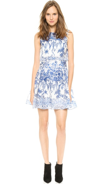 Notte by Marchesa Sleeveless Printed Organza Cocktail Dress