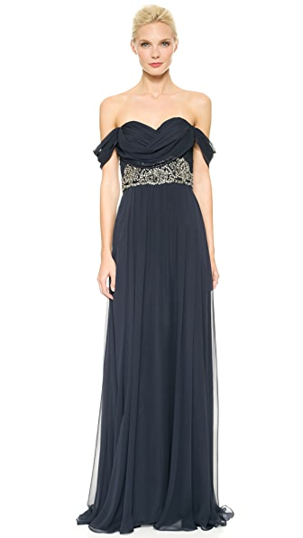 Notte by Marchesa Draped Chiffon Gown