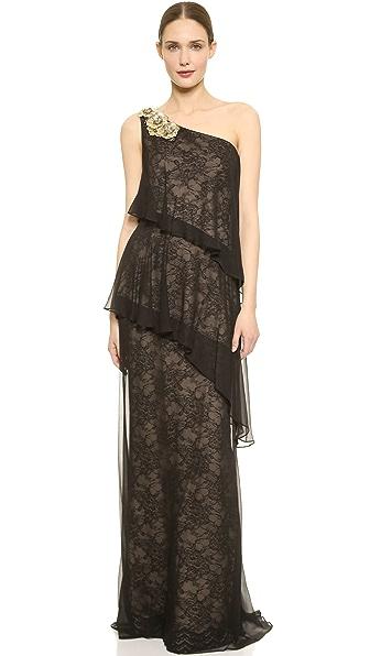 Kupi Notte by Marchesa haljinu online i raspordaja za kupiti Notte By Marchesa One Shoulder Tiered Gown Black online