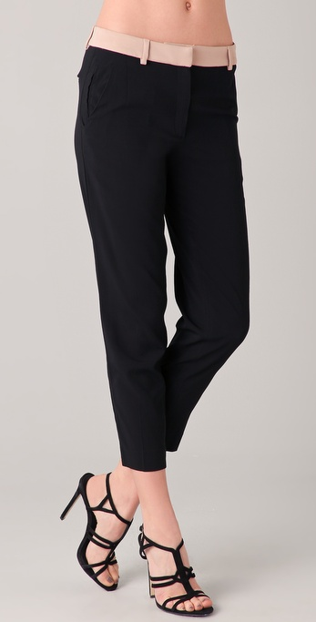 No. 21 Cropped Trousers with Nude Waistband