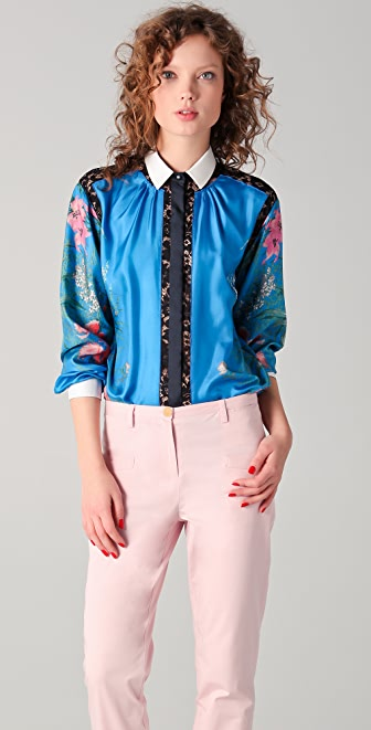 No. 21 Printed Silk Blouse