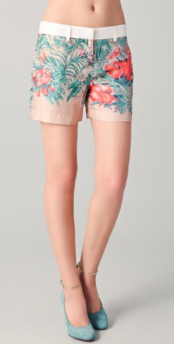 No. 21 Printed Silk Shorts