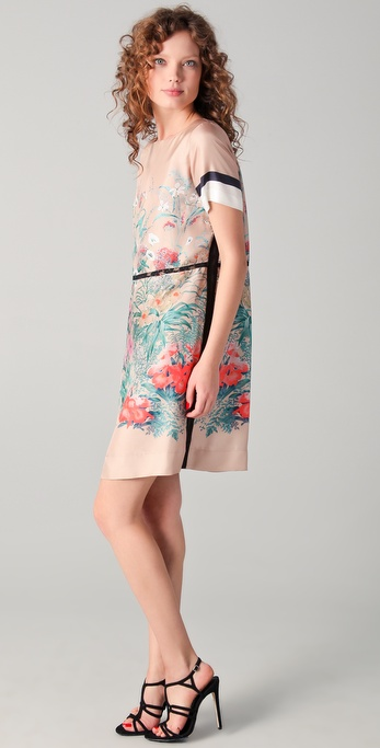 No. 21 Printed Silk Shift Dress