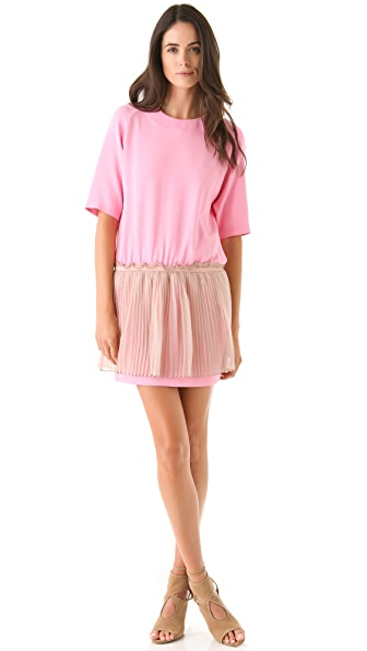 No. 21 Short Sleeve Dress with Pleated Skirt