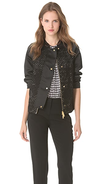 No. 21 Lace & Satin Jacket with Hawaii Print Back