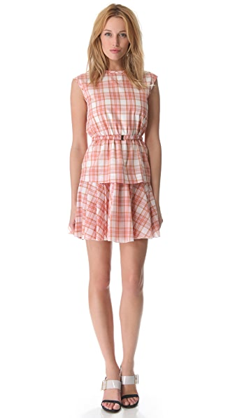 No. 21 Pink Plaid Dress with Belt