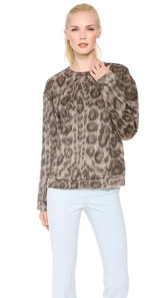 No. 21 Mohair Leopard Print Sweatshirt