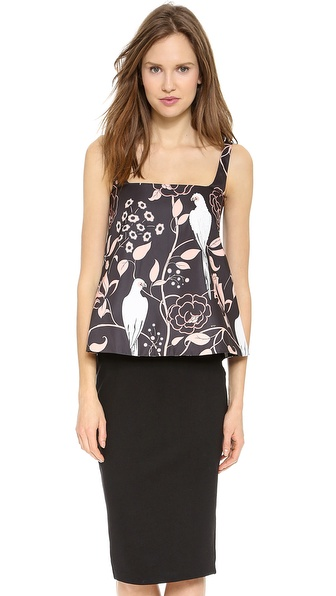 No. 21 Sequined Bird Print Top