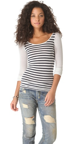 Shop NSF Carly Long Sleeve Stripe Top - NSF online - Apparel,Womens,Tops,Tee, at Lilychic Australian Clothes Online Store