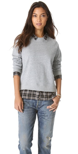 NSF The Fremont Sweatshirt with Plaid Trim