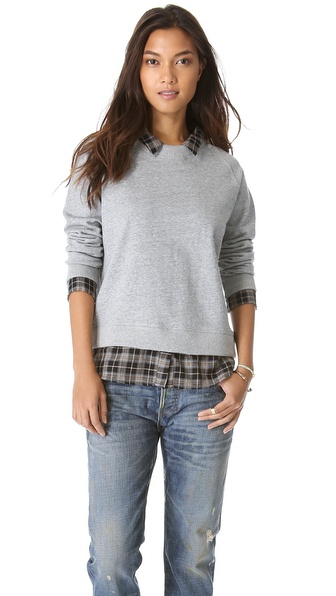NSF The Fremont Sweatshirt with Plaid Trim