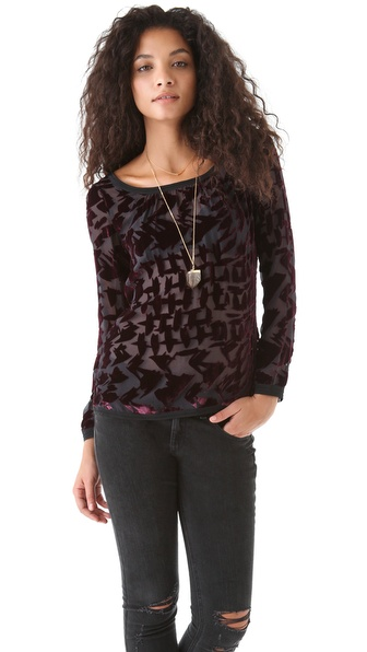 Of Two Minds Tisha Velvet Burnout Top