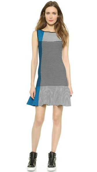 Shop Ohne Titel online and buy Ohne Titel Jacquard Tank Dress Turquoise Stripe - This slim Ohne Titel sheath dress makes a bold impression with colorblock stripes and a flared hem. Wide neckline. Sleeveless. Unlined. Fabric: Double knit. 65% rayon/35% spandex. Dry clean. Imported, China. Measurements Length: 33in / 84cm, from shoulder Measurements from size S. Available sizes: L,M,S,XS