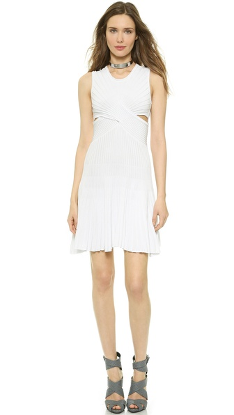Shop Ohne Titel online and buy Ohne Titel Solid Pleat Knit Dress White online store