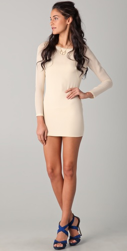 Olcay Gulsen Long Sleeve Open Back Dress