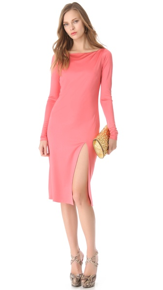 Olcay Gulsen Long Sleeve Slit Dress
