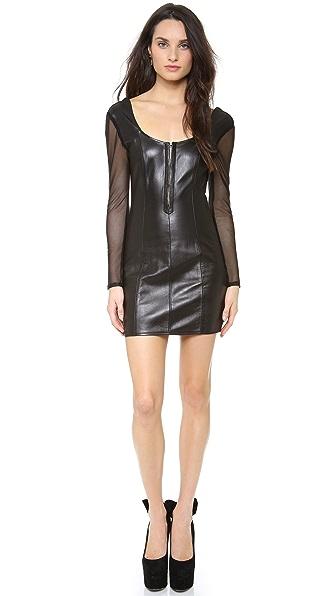 Olcay Gulsen Long Sleeve Leather Dress