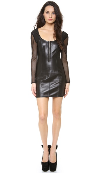 Olcay Gulsen Long Sleeve Leather Dress