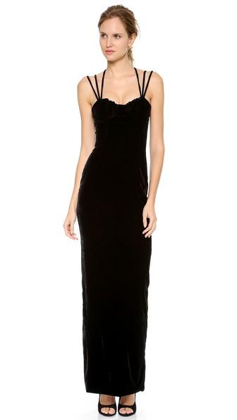Olcay Gulsen Triple Strap Velvet Gown