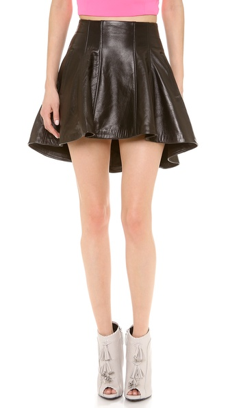 Olcay Gulsen Structure Leather Skirt