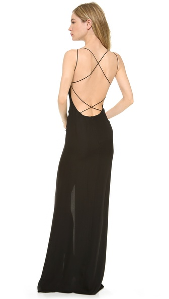 Shop Olcay Gulsen online and buy Olcay Gulsen Crossed Back Maxi Dress - Black - Whisper thin straps leave a barely there impression on this silk Olcay Gulsen gown. Crisscross detailing creates a breezy lattice through the low scoop back, and a deep front slit offers an alluring glimpse of leg. Hidden back zip. Unlined. Fabric: Silk georgette. 100% silk. Dry clean. Made in NYC. MEASUREMENTS Length: 60in / 152.5cm, from shoulder. Available sizes: M,S,XS