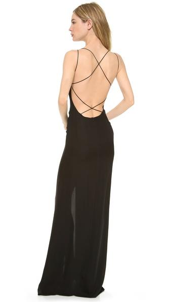 Shop Olcay Gulsen online and buy Olcay Gulsen Crossed Back Maxi Dress Black online
