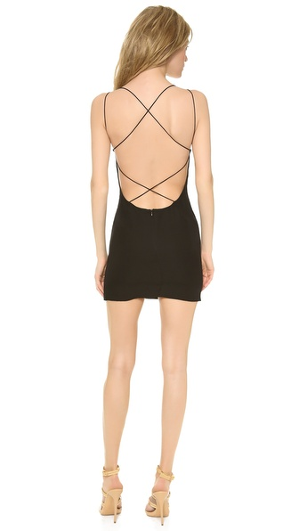 Shop Olcay Gulsen online and buy Olcay Gulsen Cross Back Mini Dress Black online