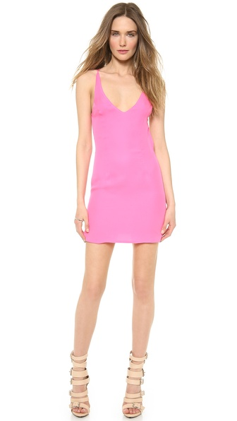 Shop Olcay Gulsen online and buy Olcay Gulsen Cross Back Mini Dress Hot Pink online
