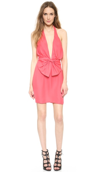Shop Olcay Gulsen online and buy Olcay Gulsen Deep V Bow Mini Dress Blush Pink - A draped bow adds a sweet touch to a formfitting Olcay Gulsen mini dress, styled with a plunging V neckline and open back. A snap secures the halter neckline. Covered back zip. Lined. Fabric: Silk crepe. 100% silk. Dry clean. Made in the USA. Measurements Length: 33.5in / 85cm, from shoulder Measurements from size S. Available sizes: M,S,XS