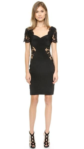 Shop Olcay Gulsen online and buy Olcay Gulsen Open Lace Dress Black online