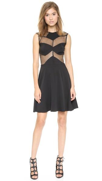 Shop Olcay Gulsen online and buy Olcay Gulsen Mesh Combo Skater Dress Black online store