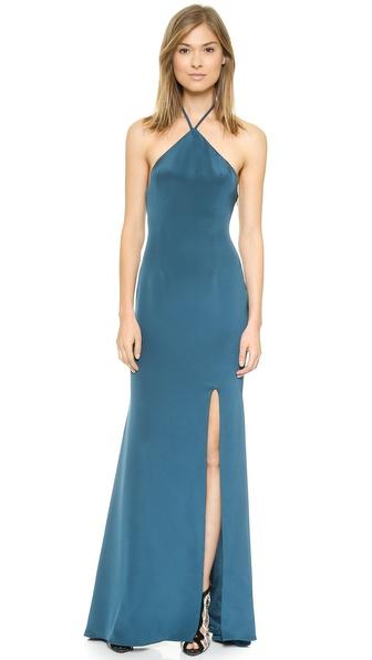 Shop Olcay Gulsen online and buy Olcay Gulsen Halter Gown Teal Blue online