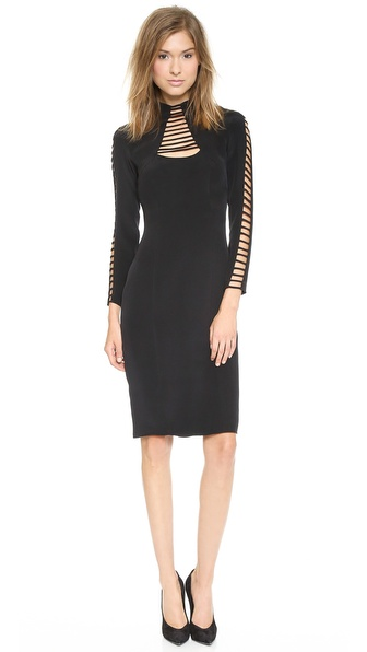 Shop Olcay Gulsen online and buy Olcay Gulsen Long Sleeve Strapped Turtleneck Mini Dress Black online