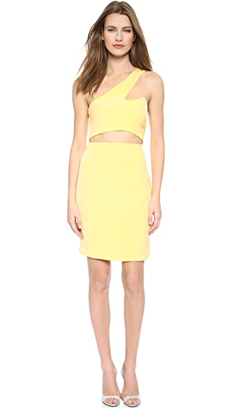Shop Olcay Gulsen online and buy Olcay Gulsen One Shoulder Cutout Dress - Yellow online