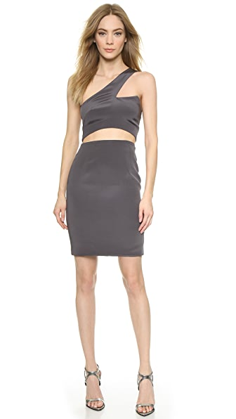 Shop Olcay Gulsen online and buy Olcay Gulsen One Shoulder Cutout Dress Grey online